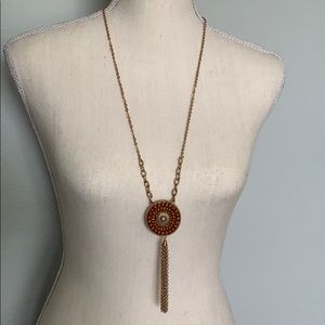 Jewelry - Gold Necklace with Brown beaded and gold accents